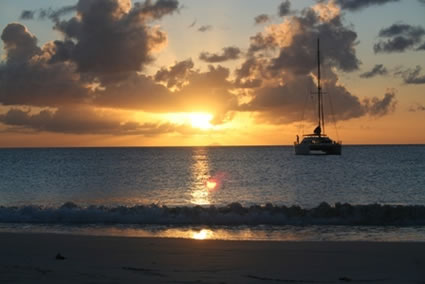 Sunset at Ffryes beach, Antigua.