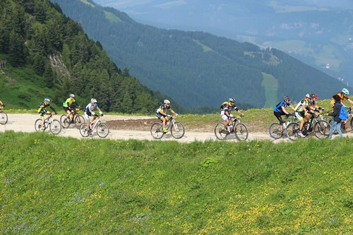 Bicycling over the alps in a group