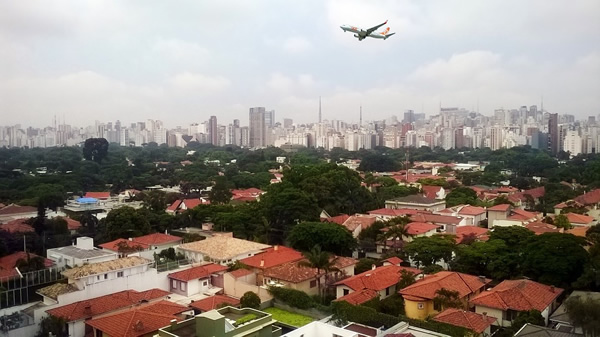 An airplane landing in Sao Paulo, Brazil
