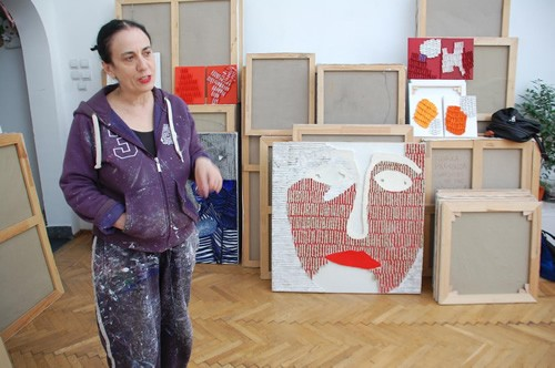 The artist Florica Prevenda in her atelier