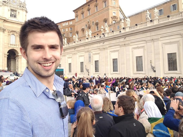 Andy at the bustling Vatican