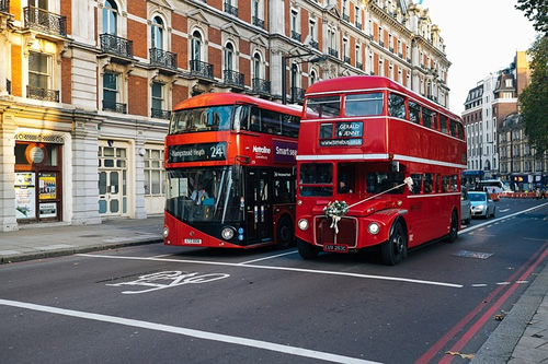 London double-decker buses.