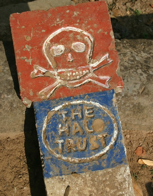 One of many land mine warning signs in Cambodia