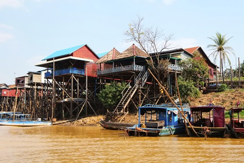 Houses on stilts at Tonle Sap Lake