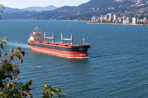 Cargo ship travel by Vancouver