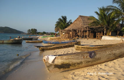 Canoes on beach in Honduras
