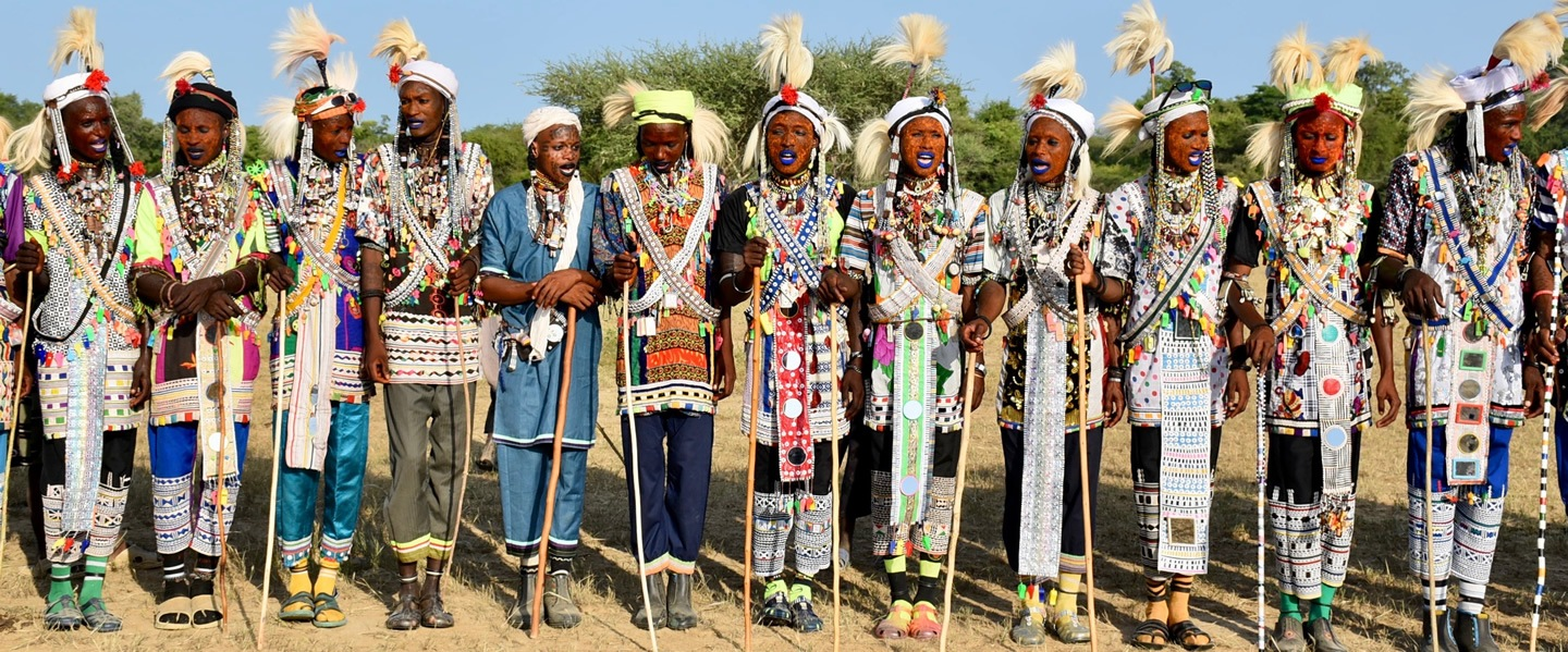 Lineup of Wodaabe dancers at the Gerewol Festival in Chad