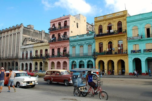 Old Havana's pastel-colored colonial buildings