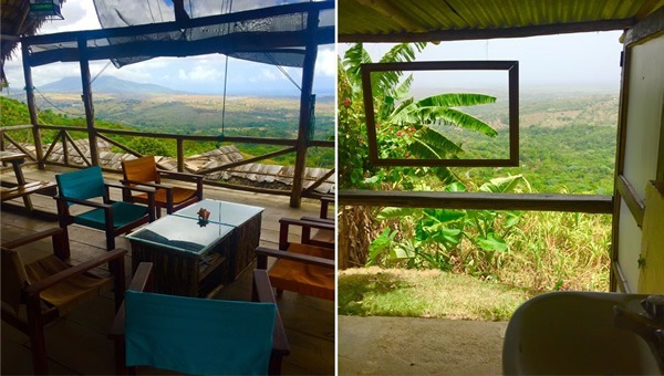 The panoramic view from the palapa lounge (left); the bathroom view (right)