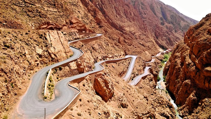 Dangerous road in Morocco