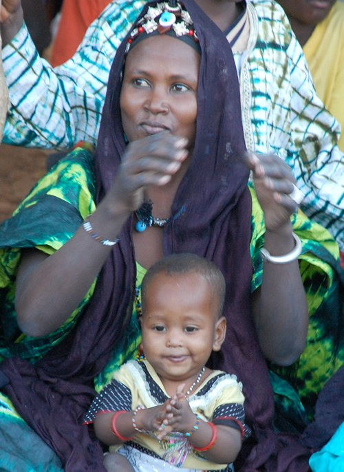 Festival: Woman enjoying with child