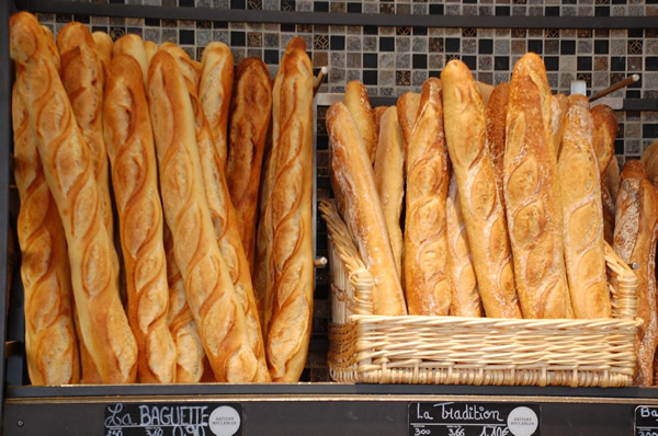 Fresh French baguettes in Paris