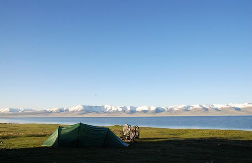 Camping in Kyrgyzstan after cycling all day