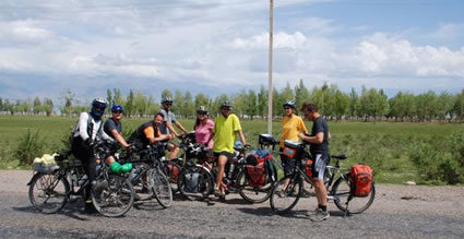 German cycling group in Kyrgyzstan, on a tour from Europe to Beijing