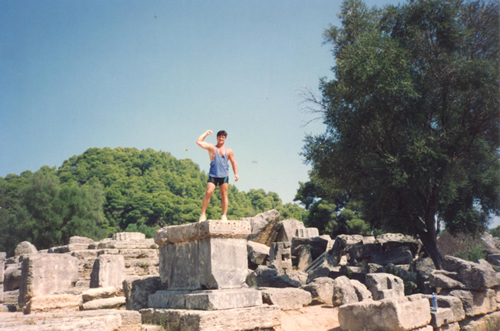 Being a travel show off in Olympia, Greece