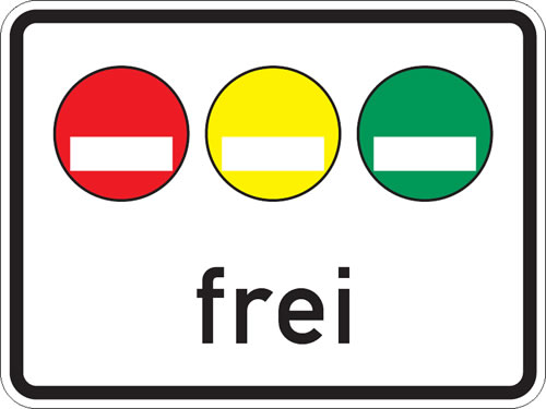 Signs showing stickers allowed in Green zone