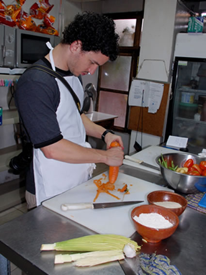 Student at work in the cooking school