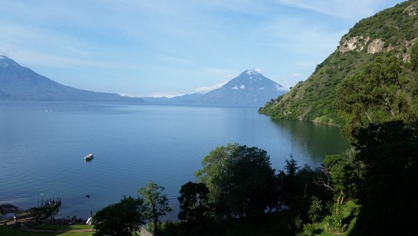 A view of Lake Atitlan from the shore