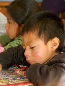Guatemalan child learning