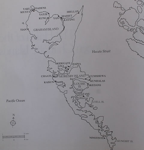 Map of Haida islands, Canada