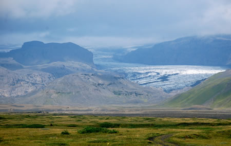 Glacier in the disaster area in Iceland