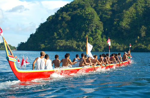 Canoe in Banda islands