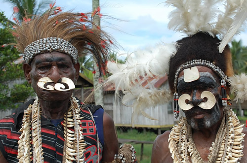 Traditional Asmat villages in West Papua
