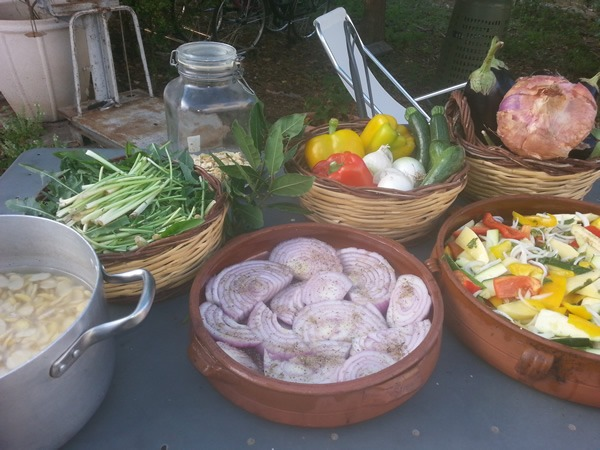 Fresh ingredients at the Cucina in Masseria cooking school in Italy