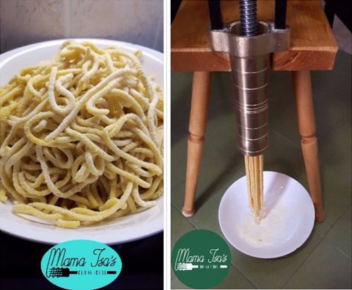 Mama Isa offers cooking lessons making bigoli pasta in the Veneto, Italy