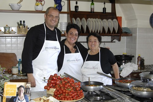 Mamma Agata in her kitchen teaching cooking classes in Italy