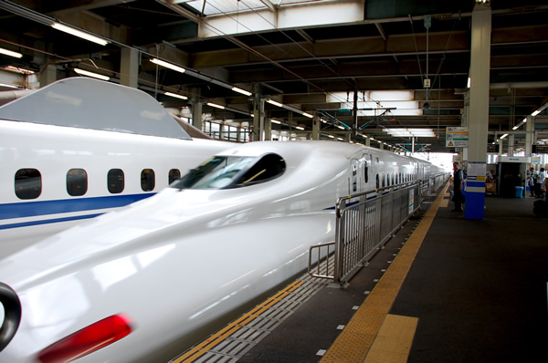 Trains at a station in Japan