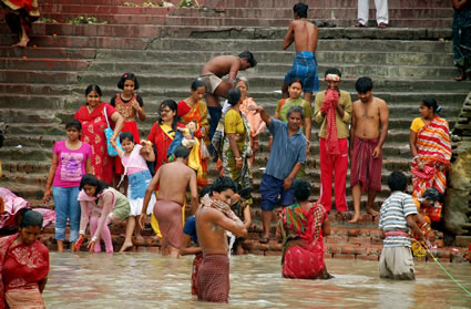 Bathing ghat along the Hooghly river