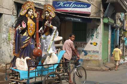 Saraswati goddesses by tricycle