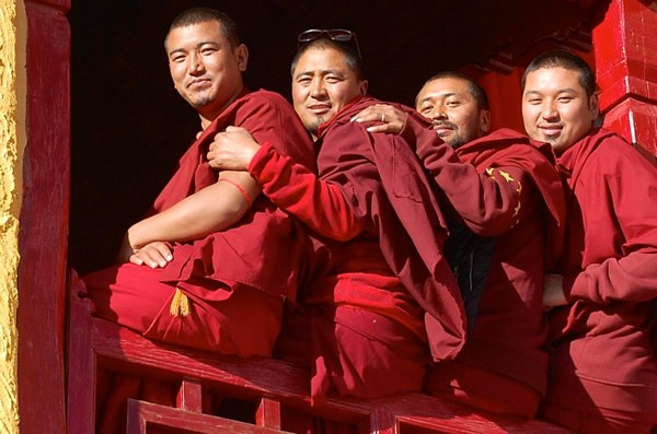 Monks at the Thiksay monastery