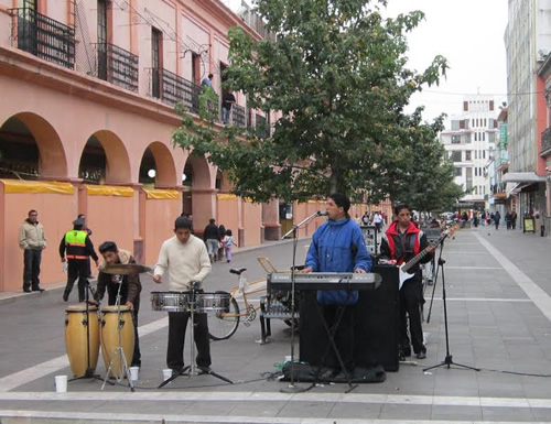 Blind street performers playing some afternoon salsa
