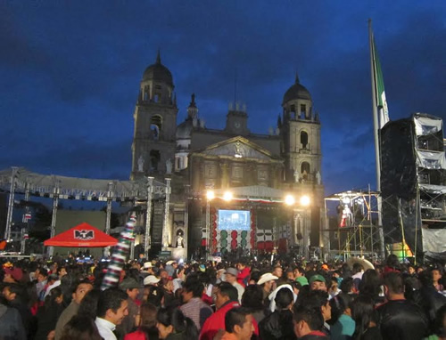 Stage in the center square of Toluca, Mexico