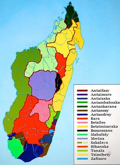 Map of tribes of Madagascar