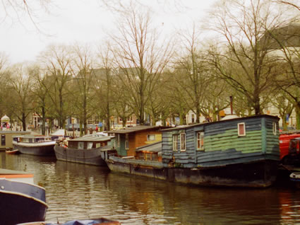 Houseboat on a canal in Amsterdam.