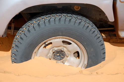 4WD Wheel in sand in Mauritania