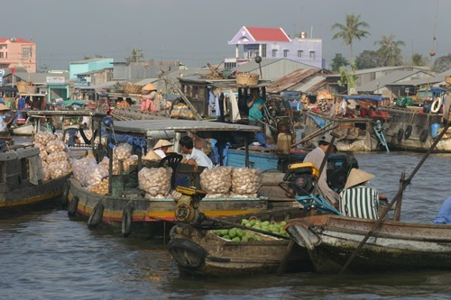 Floating markets on the Mekong River