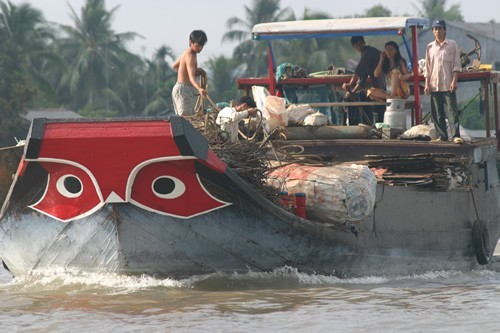 Spirit Eyes floats on the Mekong River