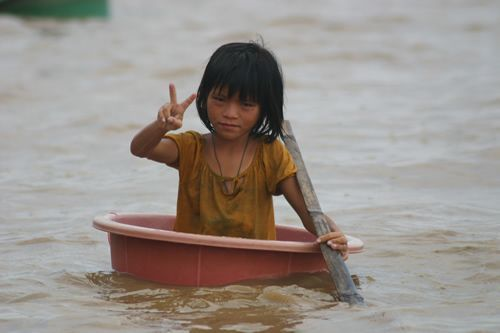 Young paddler on the Mekong River
