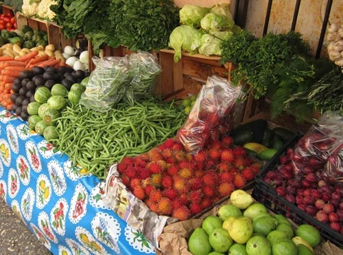 Fresh fruit and vegetables are available at shops and markets abroad