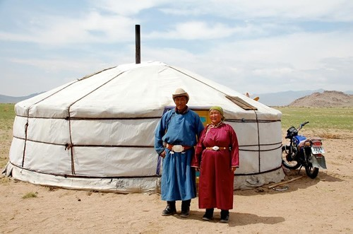 Mongolian family greets us