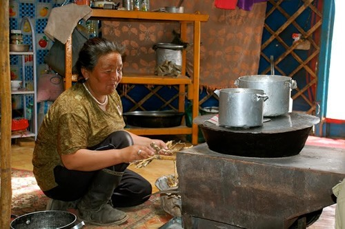 Mongolian woman cooking