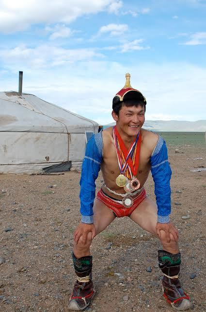 Son in Mongolian wrestling outfit