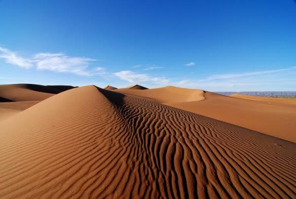 The great sand dunes of Chegaga in the Moroccan Sahara desert