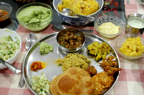 Delicious vegetable thali plate with many foods