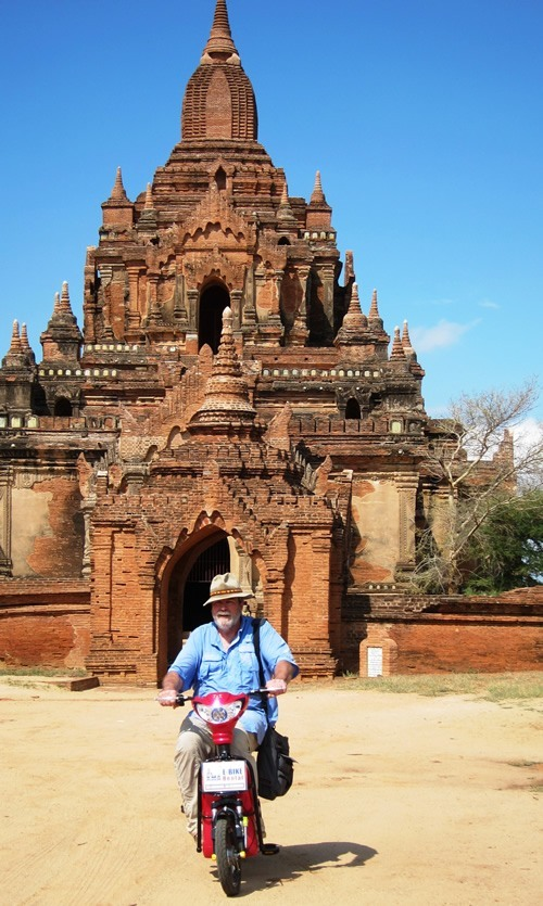 Author riding through Bagan on motorbike