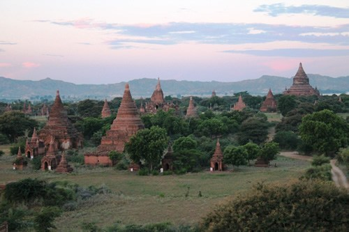 Bagan, Myanmar chessboard at sunset